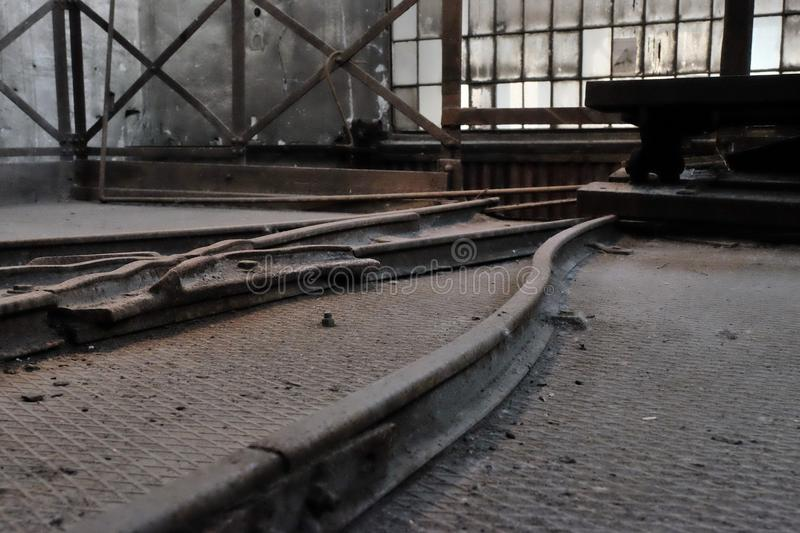Rails. In an old mine canceled royalty free stock photo