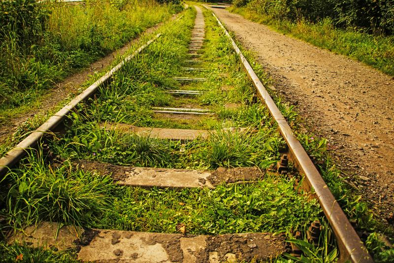 Rails out of order. With grass royalty free stock photography