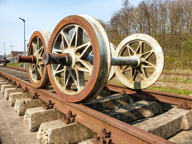 On the rails. Rails photography old railroad track transportation antique train vehicle travel history rusty steel industry journey germany station traffic metal stock photos