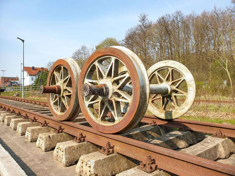 On the rails. Rails photography old railroad track transportation antique train vehicle travel history rusty steel industry journey germany station traffic metal royalty free stock image