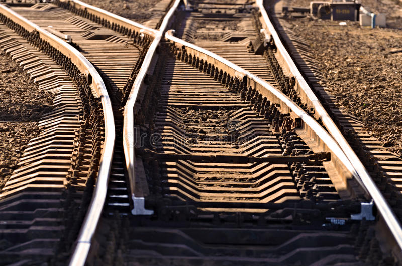 Rails on the railroad. The rails on the railway is a road for trains.Here moving locomotive stock photo