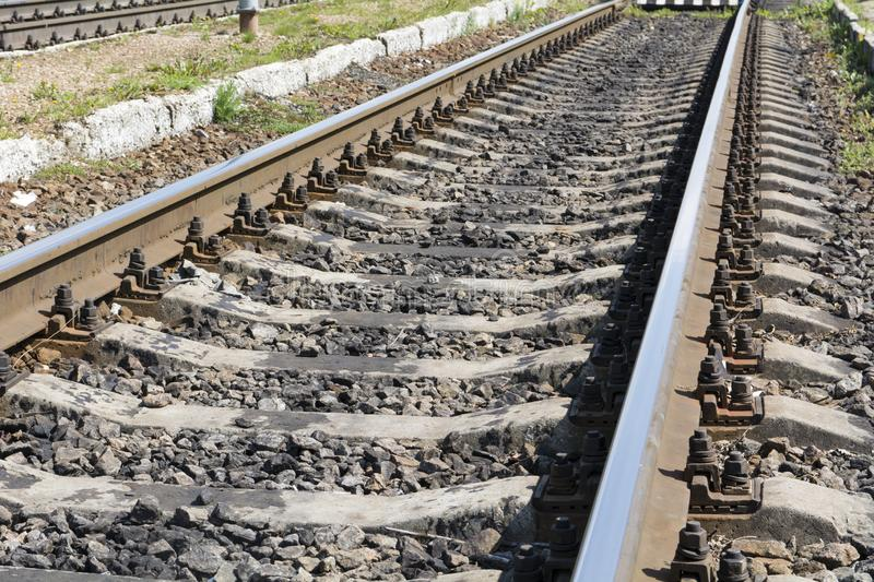 Rails. Railway section with rails and sleepers royalty free stock images