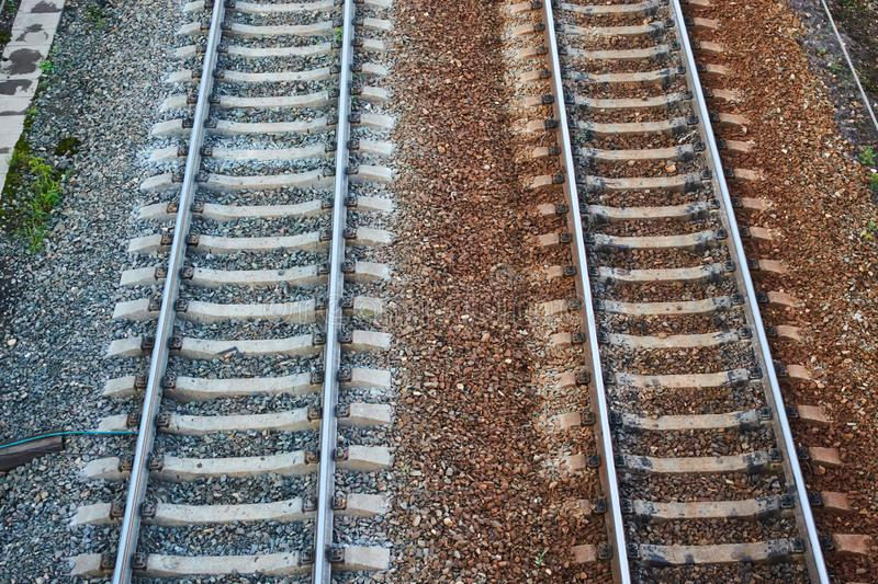 Rails on the railway. Shooting from height.  stock photos