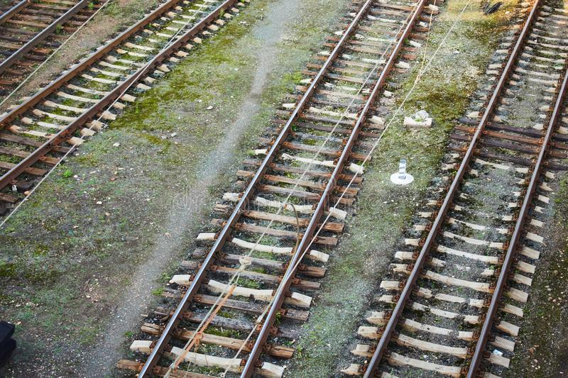 Rails on the railway. Shooting from height.  stock photo