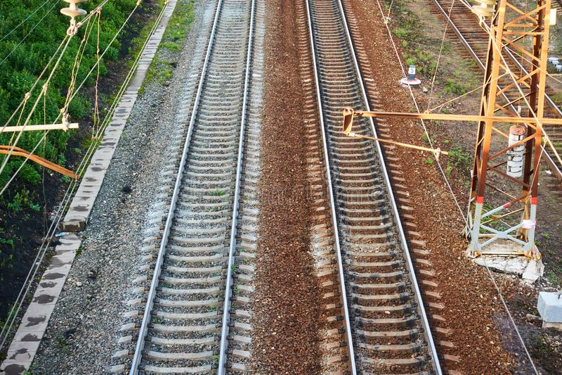 Rails on the railway. Shooting from height.  stock photography