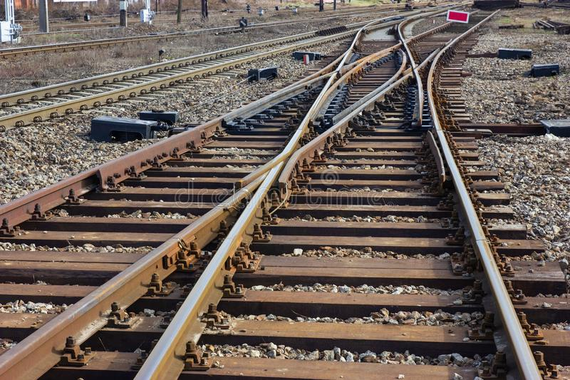 Rails. Components of railway turnouts and rails royalty free stock photography