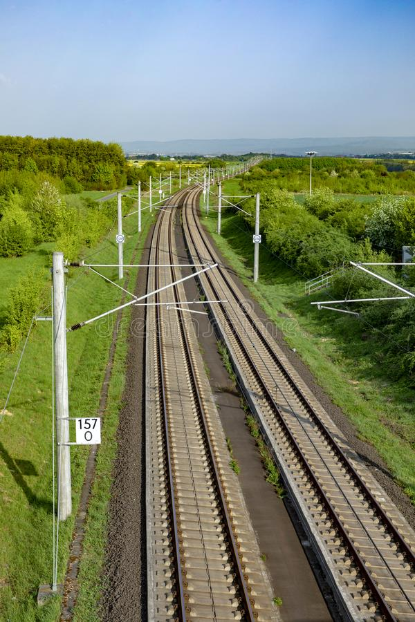 Rails in rural landscape for german high speed train Intercity E stock photography