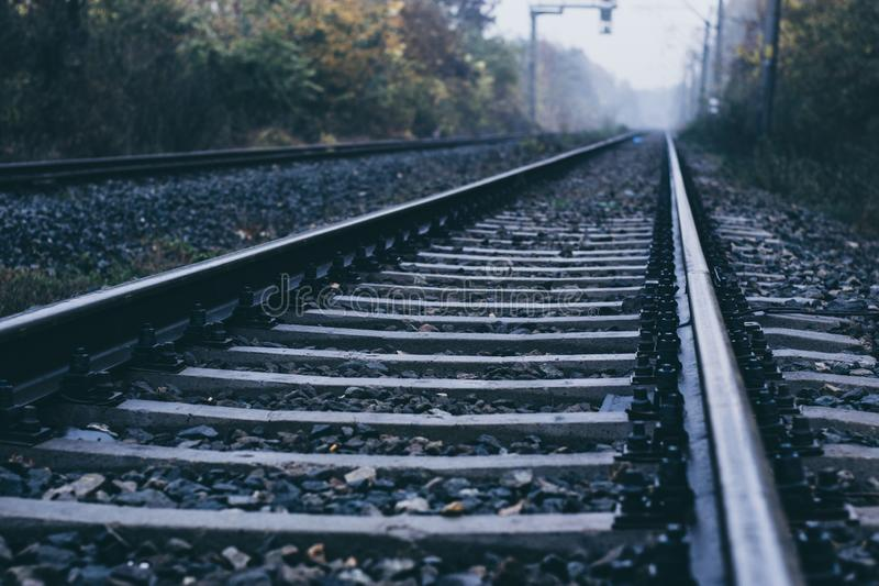 Rails shot close to a sunny autumn day royalty free stock photo