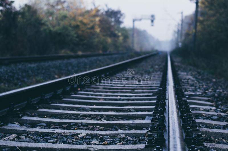 Rails shot close to a sunny autumn day royalty free stock images
