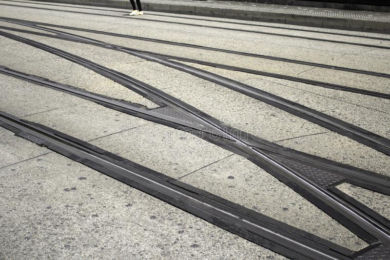 Rails track train. Railway rails in railway station, vehicle and transport stock photos