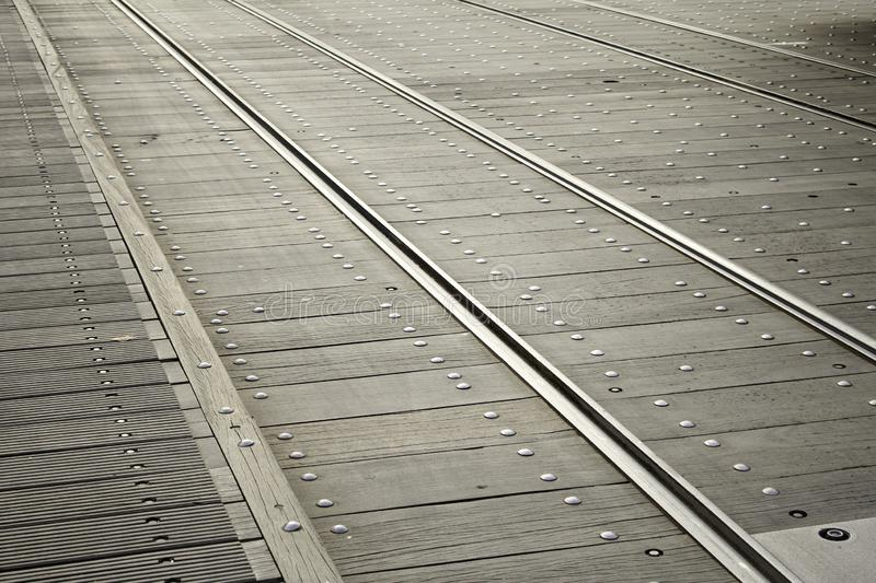 Rails track train. Railway rails in railway station, vehicle and transport royalty free stock photo