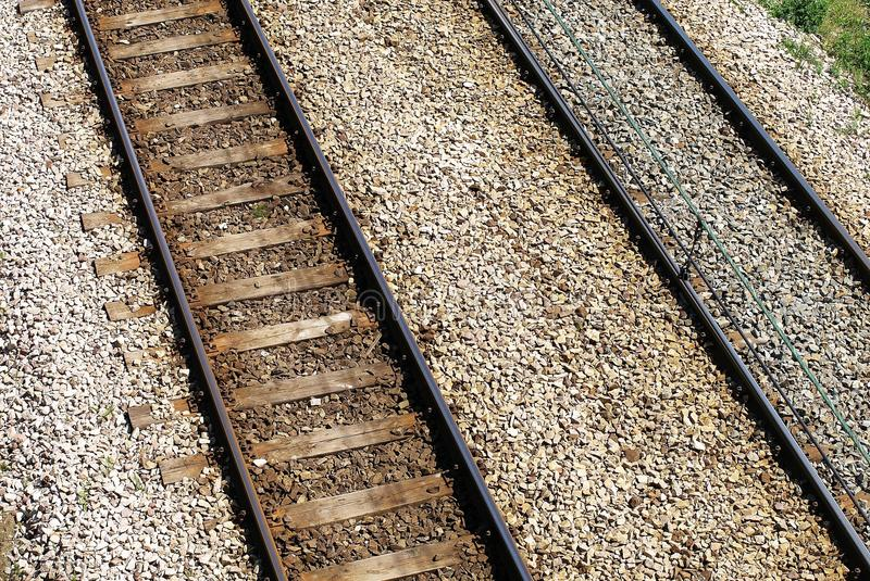Rails. Tracks, railway, track, steel , train route, concrete sleepers, railway road,The track on a railway or railroad, also known as the permanent way, is the stock photography