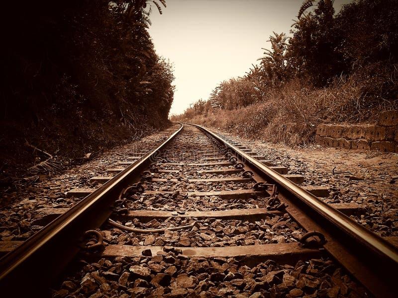 Rails. Tracks, train, sepia, brown stock photo