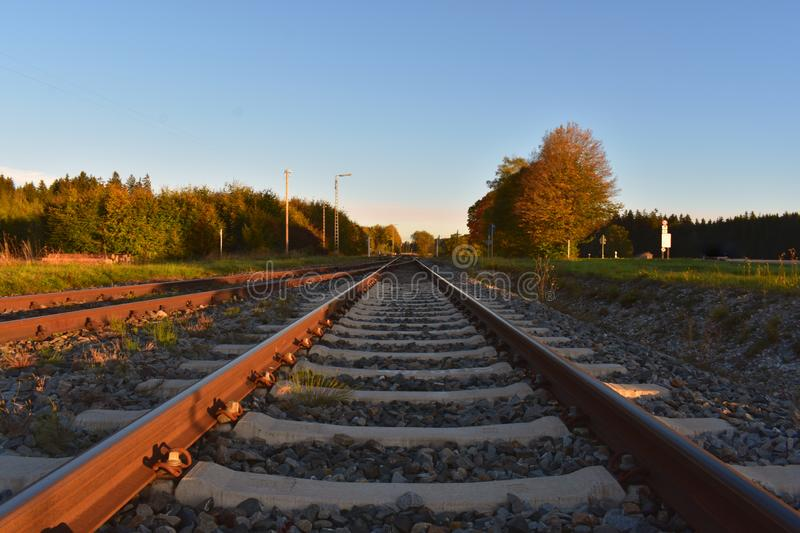 The rails from the train is put into infinity through nature. Travel.. Natural royalty free stock photo