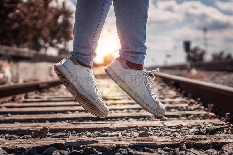 Lens flare in a jump stock photography