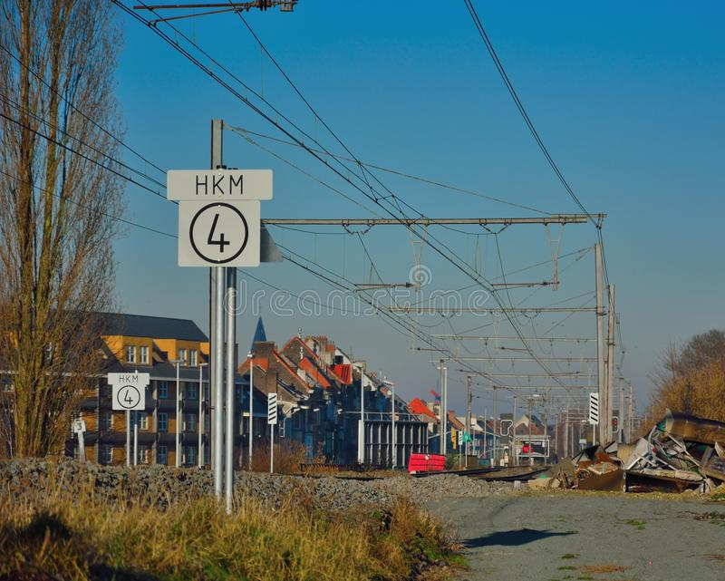 Rails without trains, Entrance of Ghent by train, city and landscape stock photography