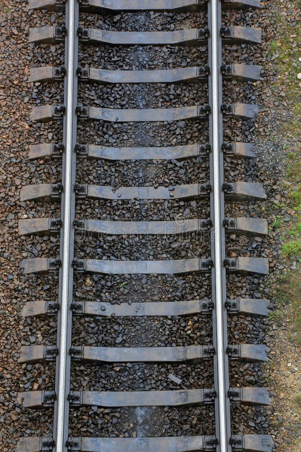 Rails and trains on the railway. The railway station and Carriages royalty free stock images