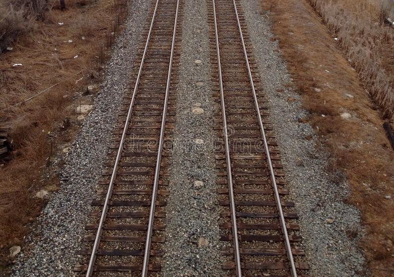 Rails. View of sleepers and rails royalty free stock photos
