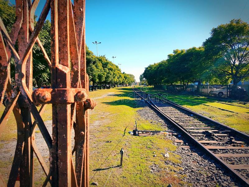 Rails. Walk on city rails on summer day royalty free stock photography