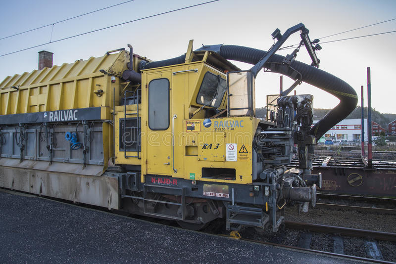 RAILVAC-16000, RA-3. Railvac RA 3 is a machine (locomotive) that moves, loads and transports ballast with vacuum suction technology.Image is shot at Halden stock images