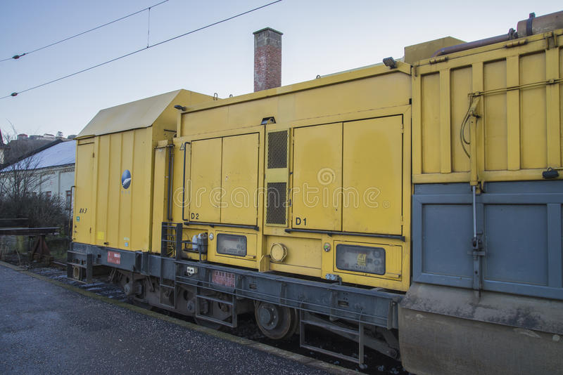 RAILVAC-16000, RA-3. Railvac RA 3 is a machine (locomotive) that moves, loads and transports ballast with vacuum suction technology.Image is shot at Halden stock photo