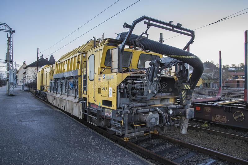 RAILVAC-16000, RA-3. Railvac RA 3 is a machine (locomotive) that moves, loads and transports ballast with vacuum suction technology.Image is shot at Halden royalty free stock images