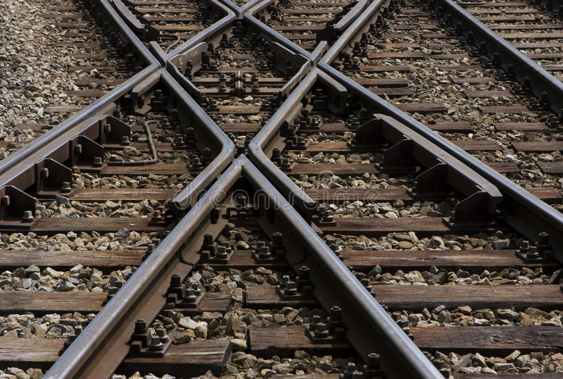 Railway. Many railways crossing each other near a station train stock photo