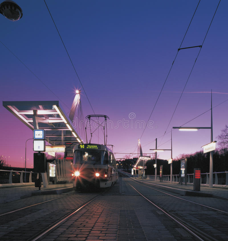 Railway. Modern streetcar track from Prague downtown to Barrandov, streetcar No.14 in station waiting for passengers stock photos