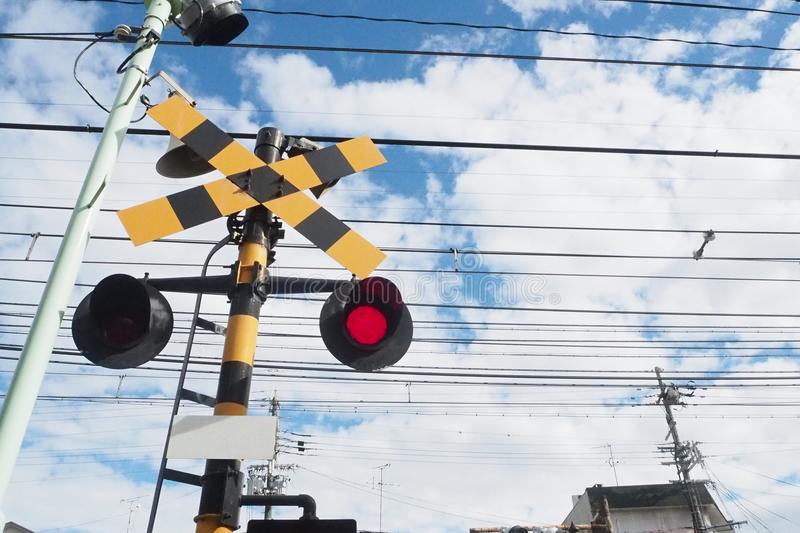 Railway alarm - Railroad barrier - Grade Crossing Signals royalty free stock images