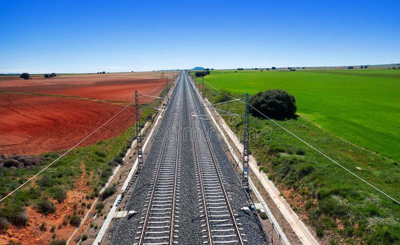 Railway in Albacete province Spain. Railway in Albacete province by Camino de Santiago of Levante Saint James Way stock photo