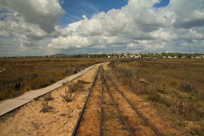 Railway in Barril beach, on the beautiful Tavira island stock photo
