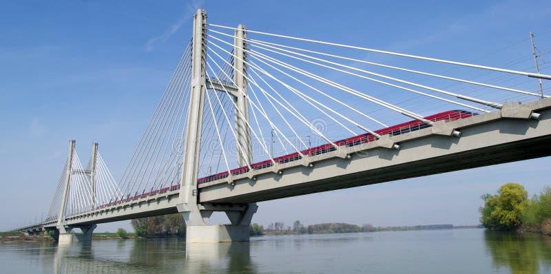 Railway bridge. Cable-stayed railway bridge across river Po in Northern Italy stock photography