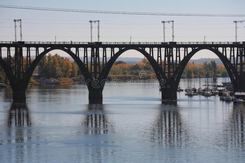 Railway bridge in Dnepropetrovsk royalty free stock images