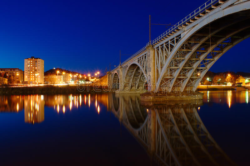 Railway Bridge in Maribor. Night View of Steel Construction of Railway Bridge across Drava River in Maribor royalty free stock photo