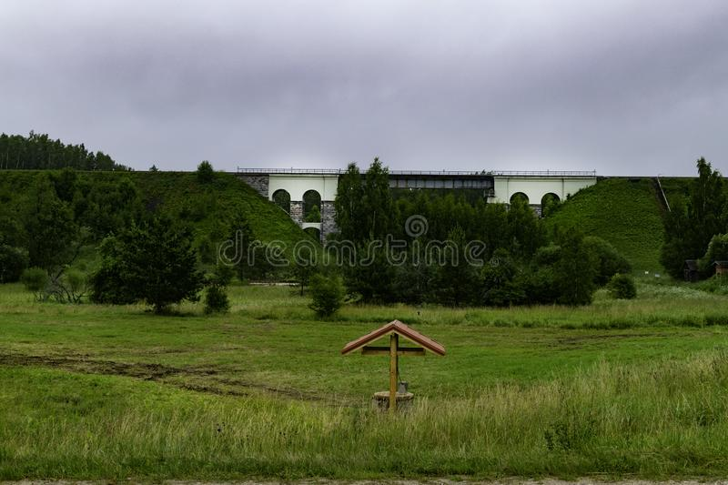 Railway bridge monuments of architecture , cloudy day in Latvia, Cesis stock image