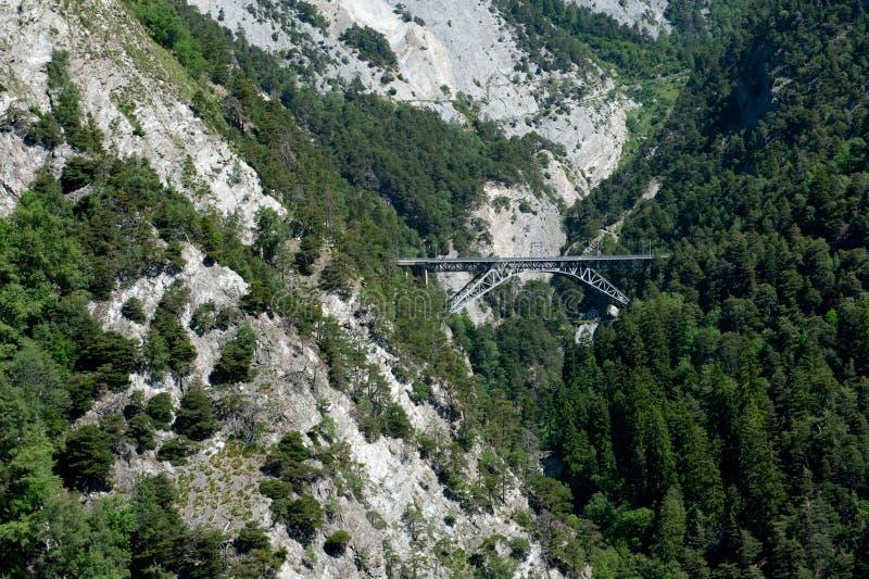 Railway bridge over canyon stock image