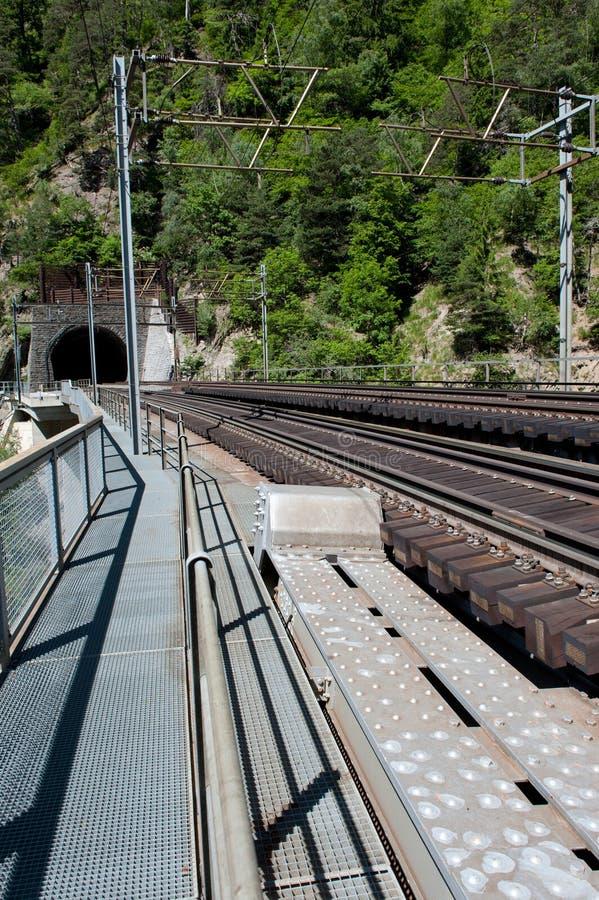 Railway bridge over canyon royalty free stock photo