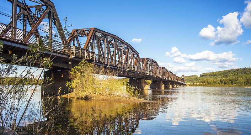 Railway bridge over the Fraser River in Prince George British Columbia. Canada stock photography