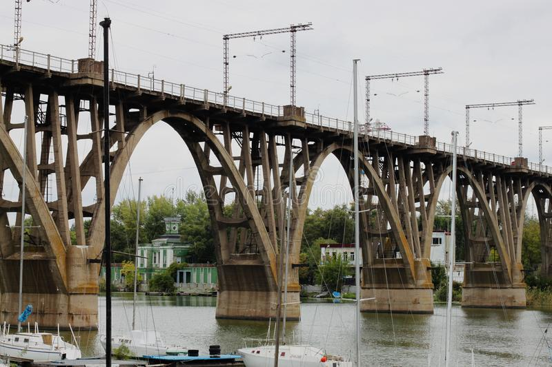 Railway bridge over the river. In Dnepropetrovsk stock photography