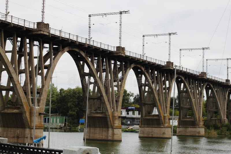 Railway bridge over the river. In Dnepropetrovsk royalty free stock photo