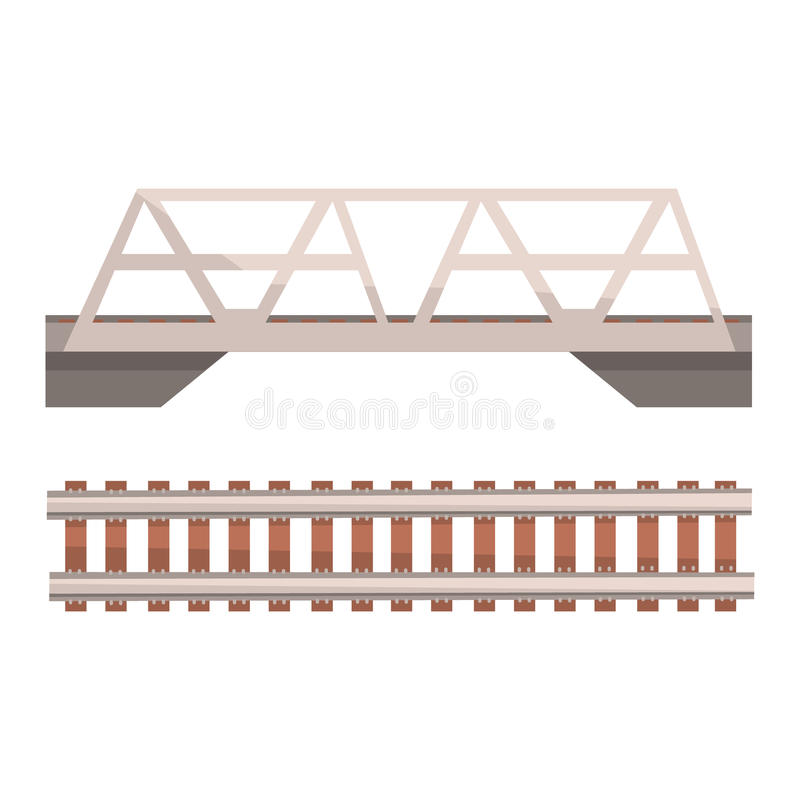 Railway bridge and railroad, rail section. Colorful cartoon illustration. Isolated on a white background stock illustration