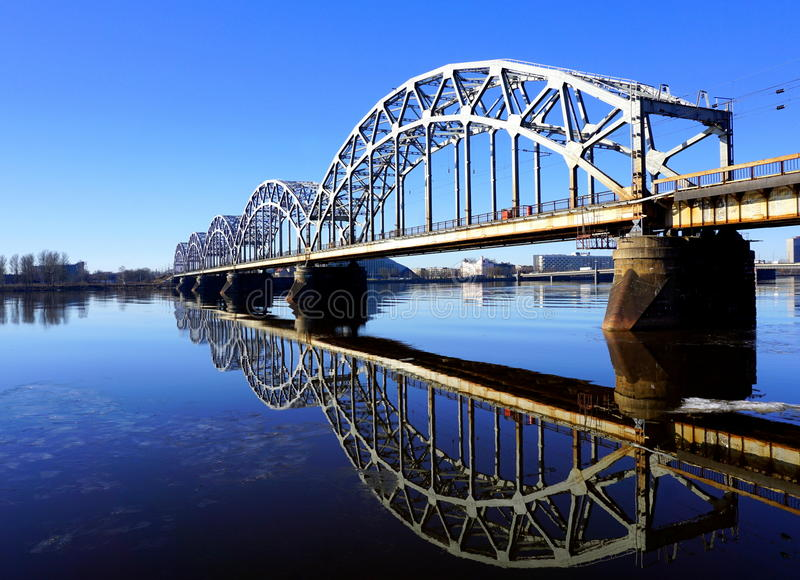 Railway bridge in Riga stock photography