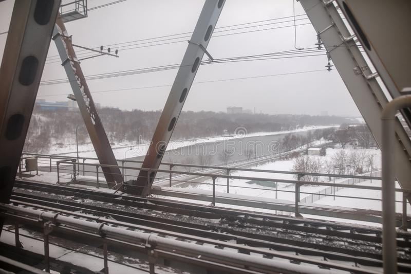 Railway bridge with train window stock photo