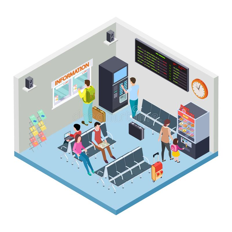 Railway, bus station or airport waiting area isometric vector concept royalty free illustration