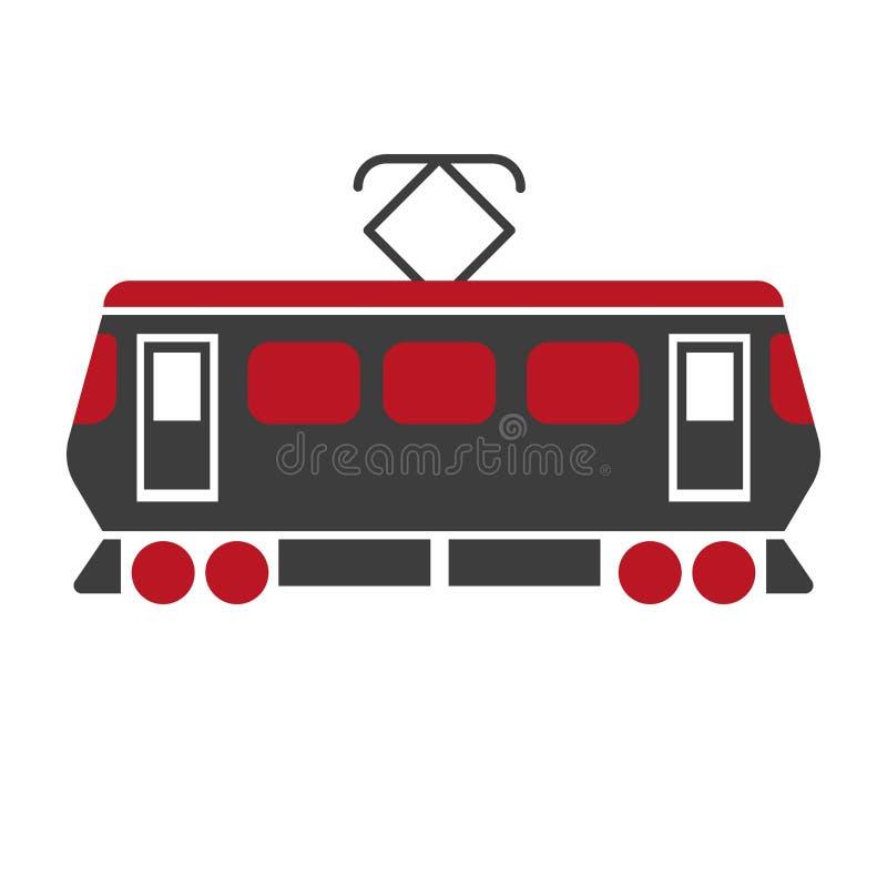 Railway carriage electric train on white. Railroad transport item stock illustration