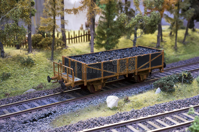 Railway carriage model with coal stock photos