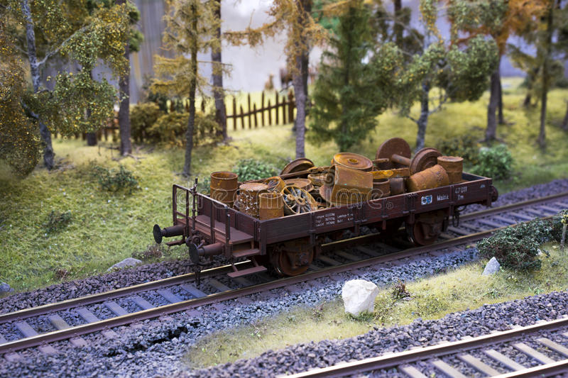 Railway carriage model loaded with scrap metal royalty free stock image