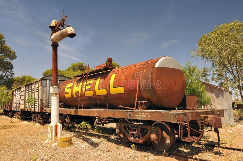 Railway Carriages for Goods in Old Tailem Town Australia`s largest pionieer village, Tailem Bend, Australia.  stock image