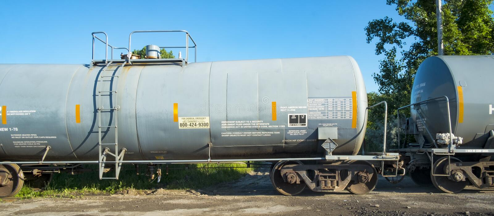 Railway Chemical Tank. Explosives, toxic gasses and inflammable materials are all classed as `dangerous goods` by the railways.These included corrosive stock photo