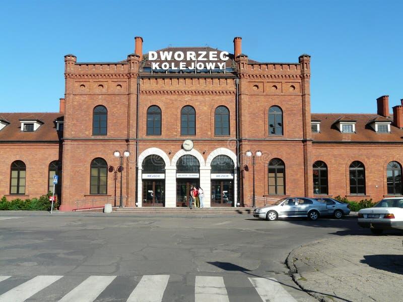Skierniewice , Poland -Railway station in the city center of Skierniewice. Railway in the city center of Skierniewice , Poland stock photos
